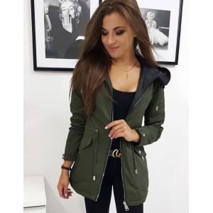 Moderní dámská oboustranná bunda zeleno modrá s kapucí