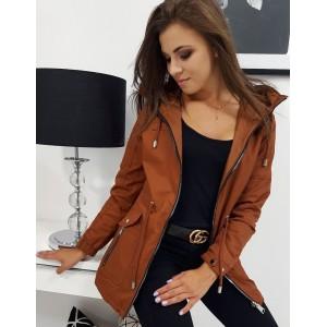 Oboustranná dámská přechodná bunda s kapucí v krásné hnědé barvě