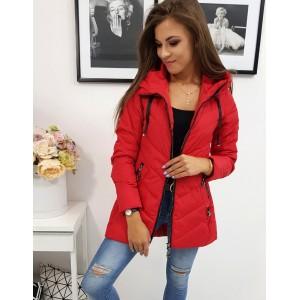 Červená dámská přechodná bunda s kapucí s módním prošíváním