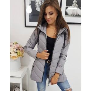 Originální dámská prošívaná bunda v šedé barvě se zapínáním na zip