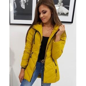 Stylová dámská prošívaná přechodná bunda v krásné žluté barvě