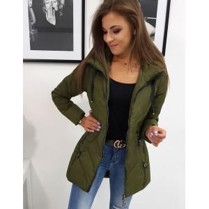 Moderní dámská zelená prošívaná přechodná bunda s kapucí