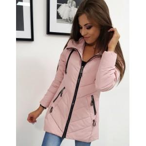 Trendy dámská pudrově růžová bunda s kapucí a zapínáním na zip