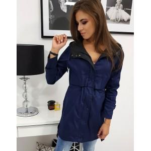 Krásná dámská tmavě modrá přechodná bunda s kapucí