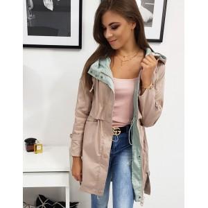 Krásná pudrově mentolová dámská přechodná bunda s kapucí