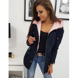 Oboustranná dámská přechodná bunda modro růžová s trendy kapucí