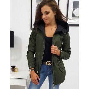 Trendy dámská oboustranná zeleno černá bunda s módní kapucí