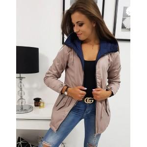 Oboustranná dámská přechodná bunda růžovo modrá s kapucí na zip