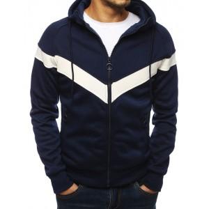 Pánská mikina modré barvy s dvěma kapsami na zip