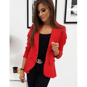 Dámské sako v červené barvě s dlouhým rukávem