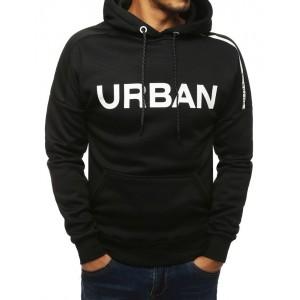 Trendová černá mikina s kapucí a bílým nápisem Urban