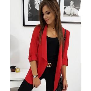 Sako v červené barvě s krátkým rukávem