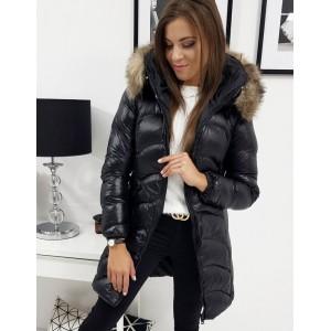 Černá lesklá bunda pro dámy s kožešinou
