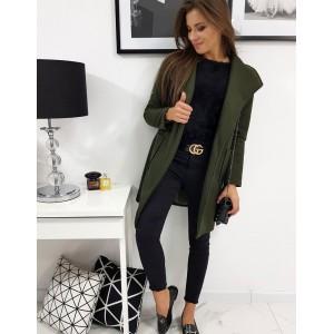 Trendy dámský oversize kabát v zelené barvě a širokým límcem
