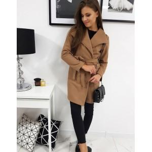 Stylový dámský kabát nad kolena nad kolena hnědo béžové barvy