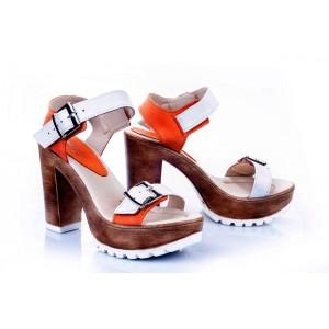 Dámské kožené sandály bílo-oranžové barvy