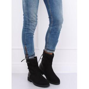 Zateplená dámská zimní obuv na zip s vázáním vzadu