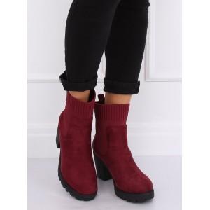Trendové zateplené kotníkové boty vínové barvy