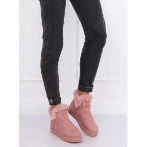 Pohodlná dámská zimní obuv růžové barvy s kožešinou
