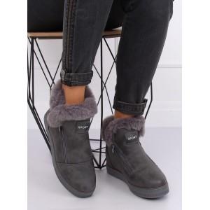 Dámská zimní obuv šedé barvy s vysokou podrážkou