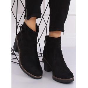 Dámské semišové boty na zimu černé barvy