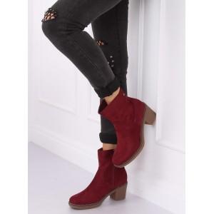 Vínové kotníkové boty na zimu se zapínáním na zip