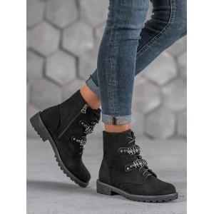 Černé kotníkové boty na zimu s tkaničkami a zapínáním na zip