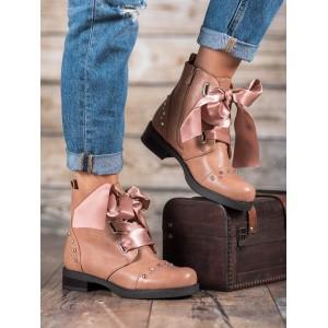 Růžové zateplené boty na zimu pro dámy