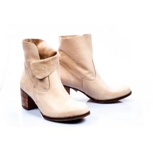 Dámské kožené boty krémové barvy