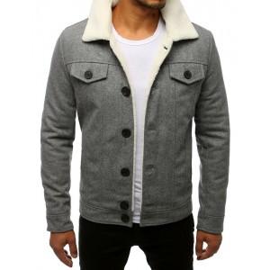 Pánská vlněná bunda s kožešinou v šedé barvě