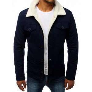 Vlněná pánská bunda v modré barvě se zapínáním na knoflíky