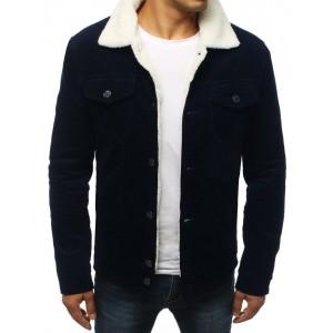 Vlnová pánská bunda v modré barvě