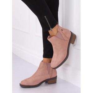 Růžová dámská kotníková obuv se širokým podpatkem