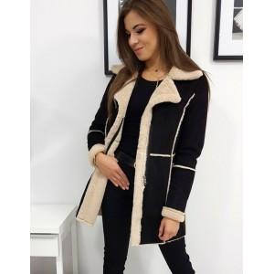 Dámský kabát v černé barvě na zimu