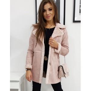 Dámský kabát v růžové barvě s kožešinou