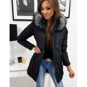 Stylová dámská černá bunda s kožešinovou kapucí