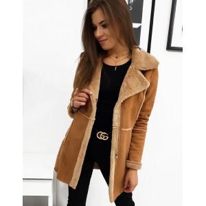Stylový dámský zimní kabát s kožešinou