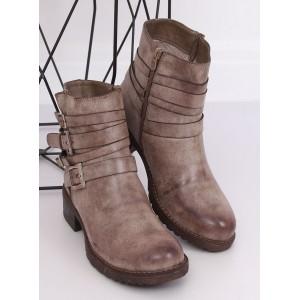 Béžové dámské kotníkové boty s ozdobnými přezkami