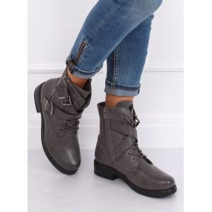 Dámská kotníková obuv šedé barvy s tkaničkami a zipem
