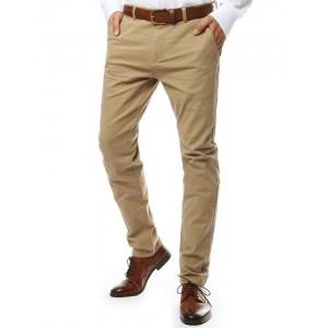 Moderní pánské chino kalhoty v béžové barvě