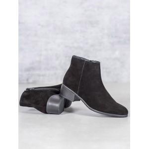 Podzimní dámské černé semišové kotníkové boty
