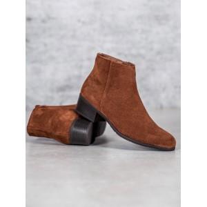 Krásné hnědé semišové podzimní boty na nízké podrážce