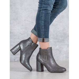 Dámské šedě stříbrné kotníkové boty na módním vysokém podpatku