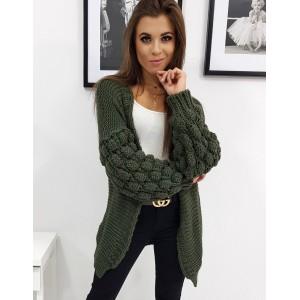 Módní dámský oversize pletený svetr v trendy zelené barvě