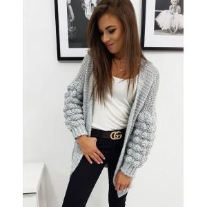 Originální dámský oversize šedý svetr s trendy kuličkovými rukávy