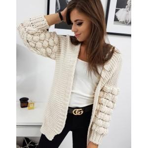 Stylový dámský béžový svetr s nařasenými kuličkovými rukávy