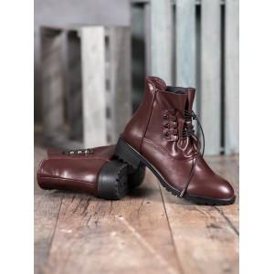 Bordově hnědé dámské kotníkové boty s trendy designovým vázáním