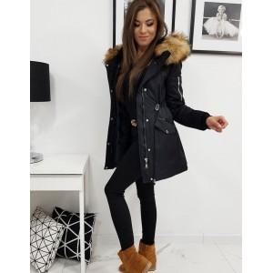Sportovní dámská černá zateplená bunda parka s bohatou kožešinou