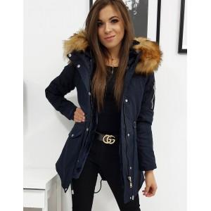 Dámská tmavě modrá zimní bunda s bohatou kožešinovou kapucí