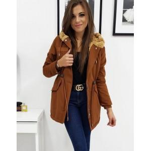 Stylová dámská hnědo karamelová dámská zimní bunda s kožešinou